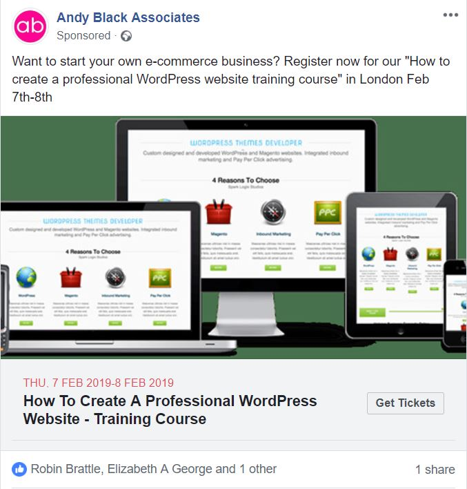 FACEBOOK ad wordpress